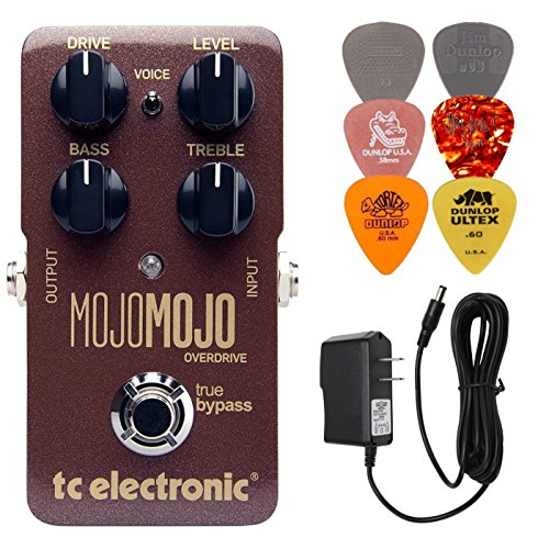 (TC Electronic MojoMojo Overdrive Pedal Bundle with 9 Volt Power Supply and 6 Assorted Dunlop Picks)