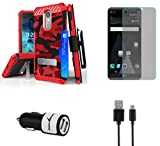 LG Phoenix 3 (AT&T) - Accessory Bundle with [Red Camo] Tri-Shield [Military Grade] Holster Case, Atom LED, Glass Screen Protector and 10W / 2.1A Dual Port Car Charger with Micro USB Cable [4 ft.]