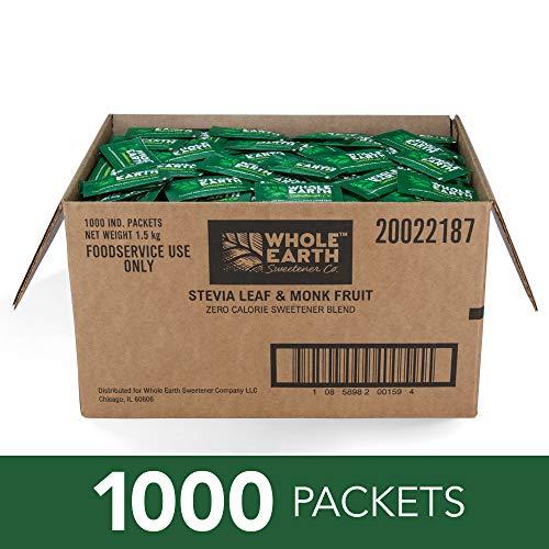 WHOLE EARTH SWEETENER Stevia and Monk Fruit Sweetener, Erythritol Sweetener, Sugar Substitute, Zero Calorie Sweetener, 1,000 Stevia Packets (Best Tasting Food On Earth)