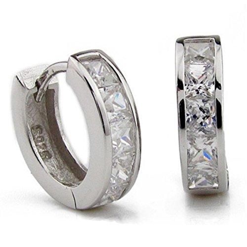 AMBESTEE Men Women Girls Fashion Jewelry Sports 925 Rhinestones Sterling Silver Plated Hoop Earrings Studs Set