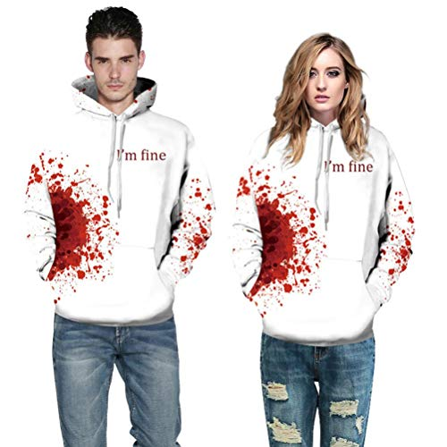 WUAI Clearance Halloween Costumes for Adults Mens Womens Hoodie Sweatshirt Skull 3D Printed Slim Pullover Jackets(Red ,Size XXL/XXXL)