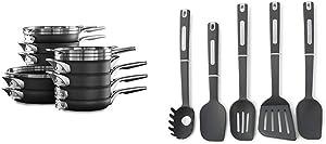 Calphalon Premier Space Saving Nonstick 15 Piece Set & 5-Piece Nylon Kitchen Cooking Utensil Set