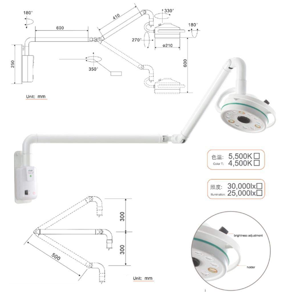 APHRODITE 36W Wall-Mounted LED Surgical Exam Light Dental Shadowless Lamp