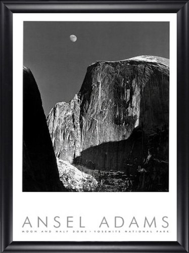 Moon and Half Dome Yosemite Ansel Adams 24x40 Gallery Quality Framed Art Print Nature Photography (Ansel Adams Gallery Yosemite National Park)