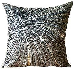 Metallic Sequins & Beaded Pinwheel Pillow Cover