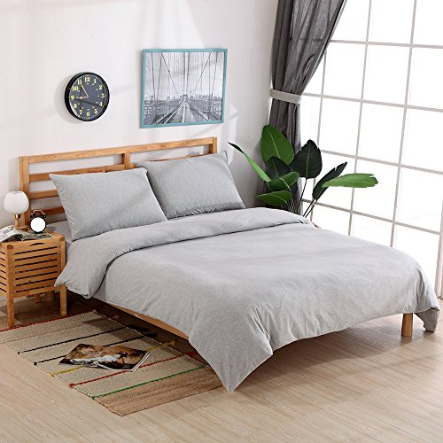 NTCOCO 3 Pieces Duvet Cover Queen,Jersey Knit Cotton Duvet Cover,Super Soft Comfy Breathable Can Sleep Naked (Light grey, ()