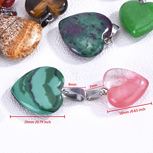 Outus 20 Pieces Heart Shape Stone Pendants Chakra Beads DIY Crystal Charms, 2 Different Sizes, Assorted Color