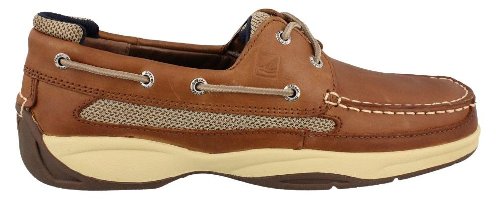 Sperry Men's, Lanyard 2 Eye Lace up Boat Shoe TAN Navy 11 M