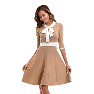 12ebf4823bad Women Summer Vintage Color Block Dress Slim Swing Dress Evening ...