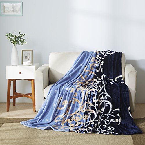 All American Collection New Super Soft Printed Throw Blanket (King Size, Blue/ Beige)