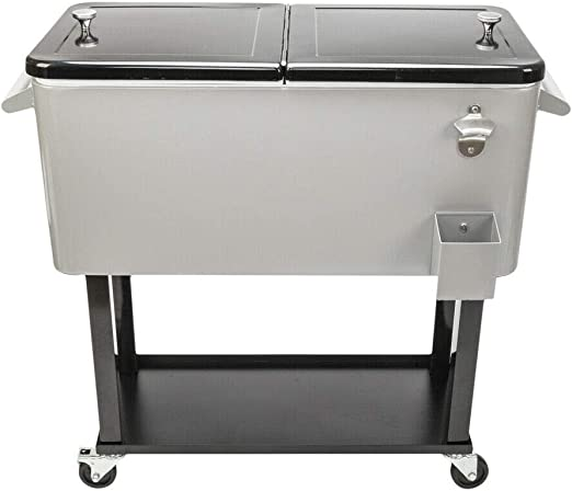 Patio Deck Cooler Ice Chest Beer Cart Rolling Stainless Steel Shelf Storage 80Qt