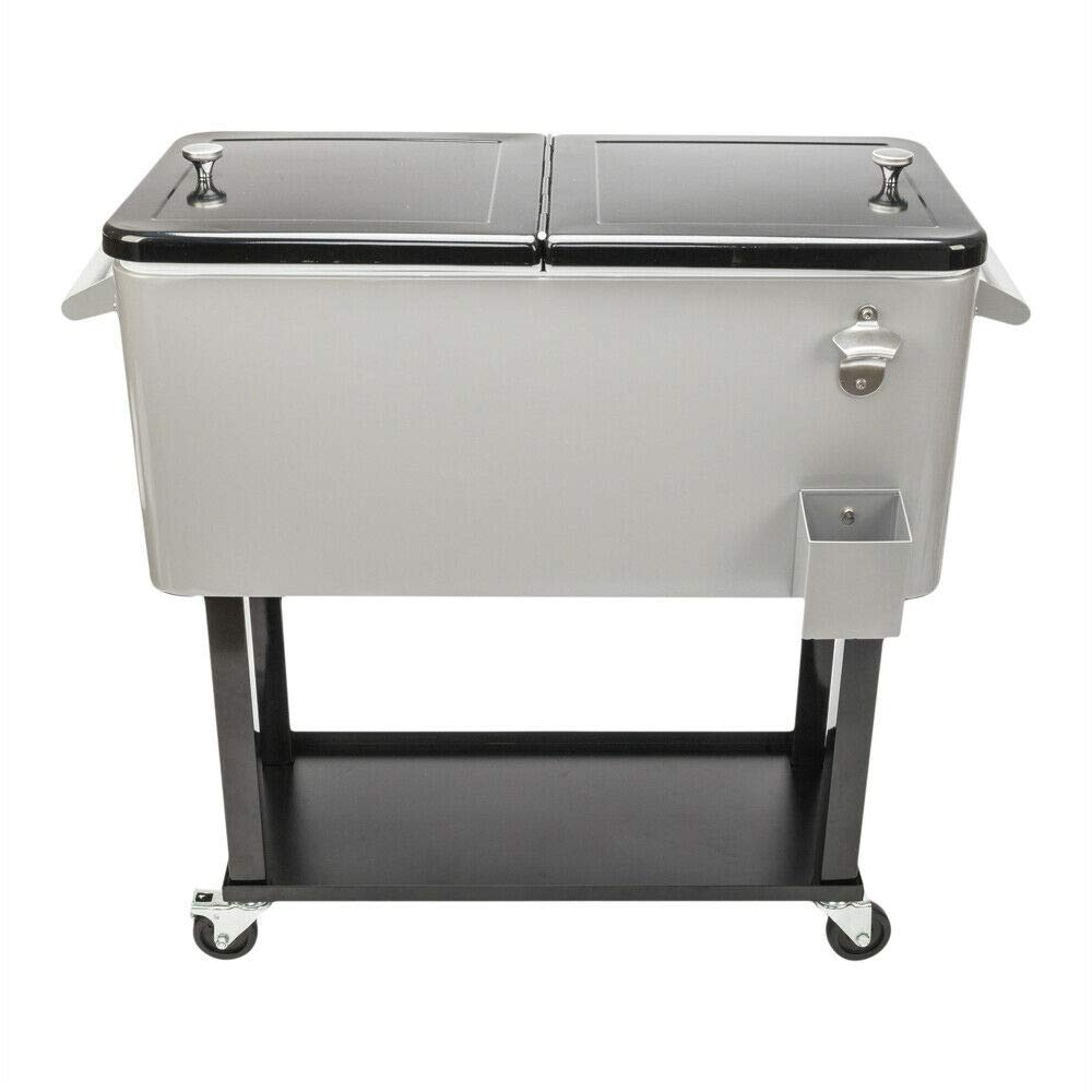 Cypress Shop Rolling Cooler Ice Chest Trolley Cart Cooling Stainless Steel Patio 80 QT Outdoor Food Drink Serving Camping Picnic BBQ Grills Smokes Barbecue RV Trip Beverage Drinking Provider