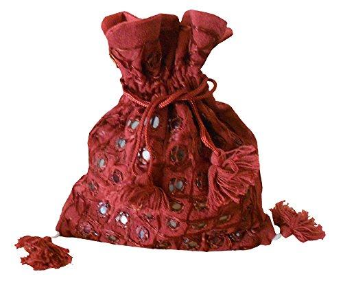 Kalra Creations - Bolso cruzados de algodón para mujer rojo granate