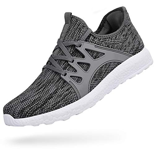 Feetmat Mens Shoes Non Slip Mesh Knit Casual Running Gym Athletic Shoes Grey White 11.5 D(M) US