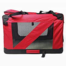Q'REN Pet Foldable Carrying Case Tent Dog Cage House Car Teddy Gold Shirt Steel Tube Dog Red 32.3〃x 23.2〃x 23.2〃
