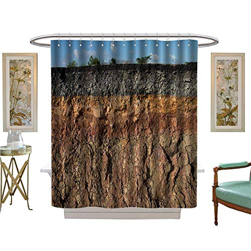 (luvoluxhome Shower Curtains Fabric The Curb Erosion from Storms to Indicate The Layer Soil and Rock Custom Made Shower Curtain W69 x L84)
