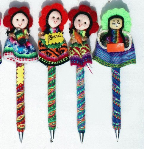 One Peruvian Doll Ethnic Decorated Writing Pen, Handmade Souvenir