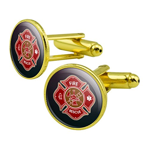 GRAPHICS & MORE Firefighter Fire Rescue Maltese Cross Round Cufflink Set Gold Color
