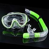 Swimming Scuba Pro Anti-Fog Goggles PVC Mask Dive Diving Glasses Dry Snorkel Set Colors:Green