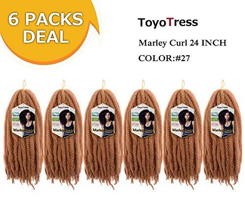 ToyoTress 6 Packs 24inch Long Marley Braid Hair Afro Malrey Twist Braiding Hair 100% Kanekalon Synthetic Marley Braids Crochet Braiding Hair Bulk (24
