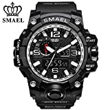 SMAEL Men's Sports Analog Quartz Watch Dual Display Waterproof Digital Watches with LED Backlight relogio masculino (Black Sliver)