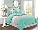 8 Piece KING Size TURQUOISE BLUE / WHITE / GREY Pin Tuck Stripe Regatta Goose Down Alternative Comforter set 104