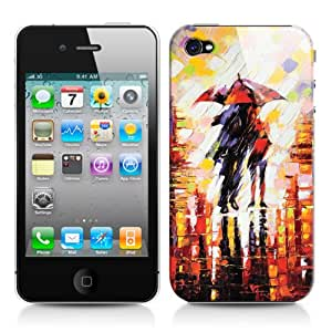 Caso duro para Apple iPhone 4/4S, diseño: Pintado Pareja bajo la lluvia