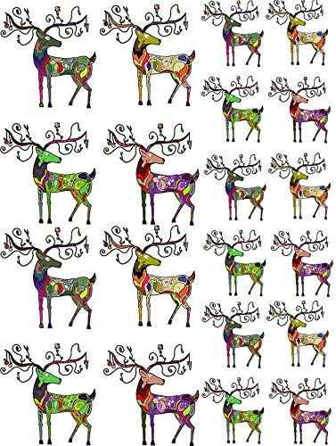 Abstract Christmas Deer - 85565 - Ceramic Decal - Enamel Decal - Glass Decal - Waterslide Decal - 3 Different Size Sheet (Images) to Choose from. Choose Either Ceramic (Enamel) or Glass Fusing Decals by XpressionDecals