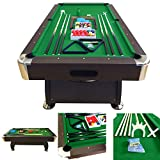 8' Feet Billiard Pool Table with Automatic ball return system Snooker Full Set Accessories Game Vintage Green 8FT