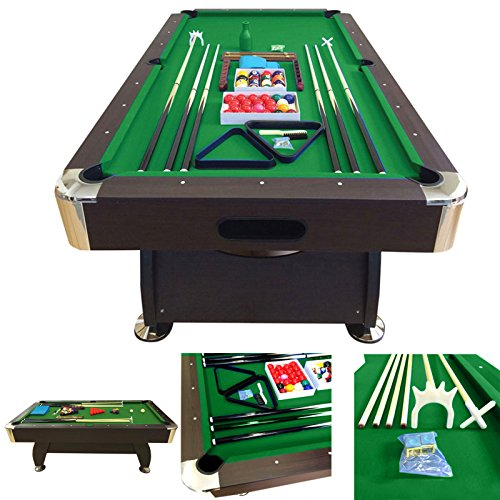 8' Feet Billiard Pool Table with Automatic ball return system Snooker Full Set Accessories Game Vintage Green 8FT by SIMBASHOPPING USA