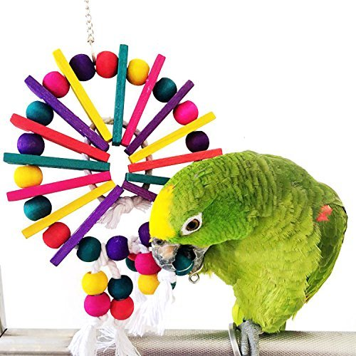 Rypet Wood Parrot Toys Ferris Wheel Style Cage Chewing Toy for Small to Medium Breeds Parrots - Medium Parrot Tree