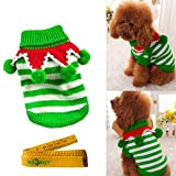 Christmas Turtleneck Knitted Pet Dog Cat Sweater Knitwear Outerwear with Collar and Balls for Dogs & Cats (Green & White Stripes, XS)