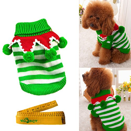 Christmas Turtleneck Knitted Pet Dog Cat Sweater Knitwear Outerwear with Collar and Balls for Dogs & Cats (Green & White Stripes, (Dog Outerwear)