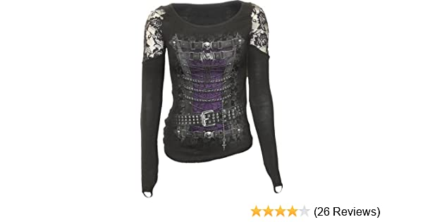 SPIRAL DIRECT WAISTED CORSET LS Finger Loop Shoulder Lace Viscose,Gothic//Top//Tee
