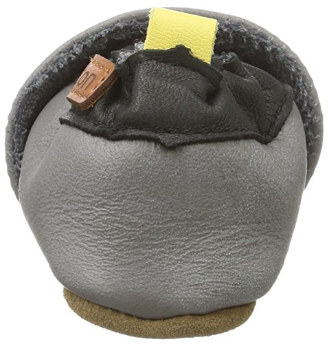 Melton Baby Jungen Krabbelschuh Rakete aus Weichem Leder Krabbel-& Hausschuhe Mehrfarbig (Dark Grey)