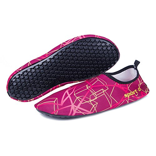 WONZOM FASHION Männer Frauen Paar Multifunktionale Haut Schuhe Leichte Barfuß Sneaker Quick-Dry Wasser Sportschuhe für Beach Pool rot