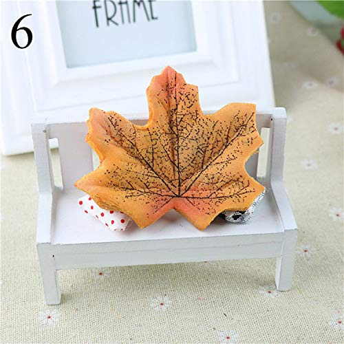 CoronationSun - Decor Leaf - 50pcs/lot Artidicial Maple Leaves Fake Fall Leaf for Scrapbooking Wedding Party Decoration Craft Flores ()