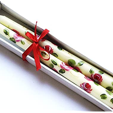 Romantic Hand Painted Rose Ivory Taper Decorated Candles Set