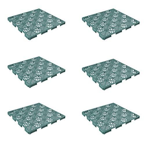 (Pure Garden 50-LG1170 Patio and Deck Tiles-Interlocking Diamond Pattern Outdoor Flooring Pavers Weather Resistant, Anti-Slip Square DIY Mat (Green Set of 6),)