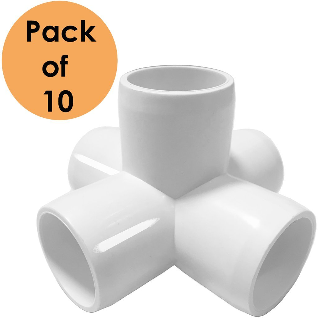 SELLERS360 5way 3/4 inch Tee PVC Fitting Elbow - Build Heavy Duty PVC Furniture - PVC Elbow Fittings[Pack of 10]