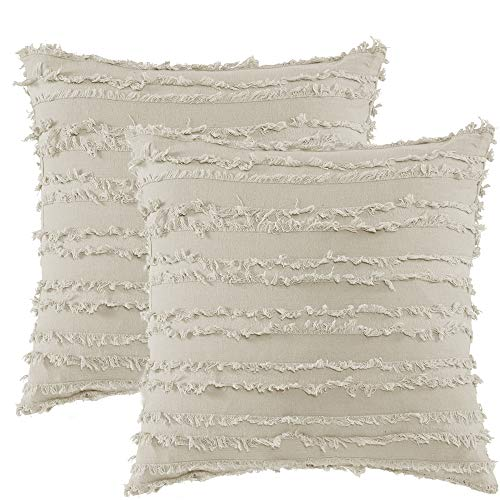 Nigols Throw Pillow Covers 100% Cotton Hand-Woven Tassels Decorative Cushion Cover Pillowcases with Hidden Zipper (Set of 2, ()