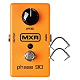 MXR M101 Phase 90 Phase Effects Pedal for Guitar Bass and Keyboards with Wide range of sounds and Simple, single knob operation Bundle with 2 Patch Cable