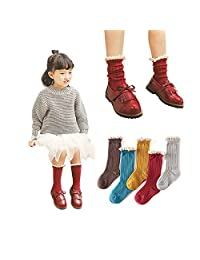 Menghao 5 Pairs 2-5 Years Baby-Girls Short Socks Lace Ruffles cute Cotton Solid Ankle Socks
