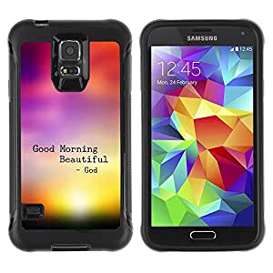 Suave TPU Caso Carcasa de Caucho Funda para Samsung Galaxy S5 SM-G900 / BIBLE Good Morning Beautiful / STRONG