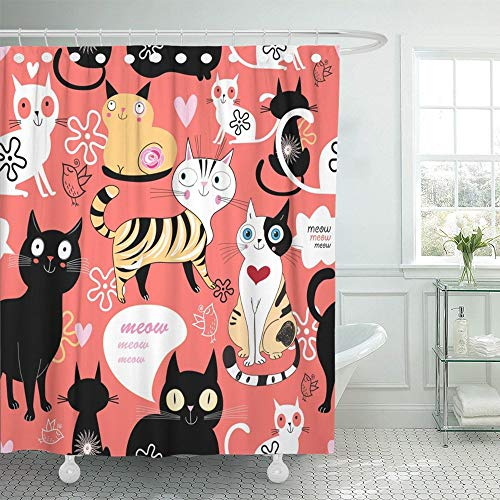 PAUSEBOLL Black Animals Funny Love with Cat Pattern on Blue with Heart Colorful Animation Creativity Day Ears Shower Curtain Bathroom with Hooks,Waterproof Polyester Curtain
