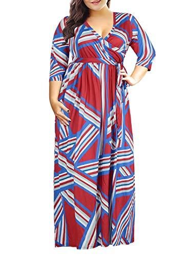 Nemidor Women's 3/4 Sleeve Floral Print Plus Size Casual Party Maxi Dress (Red Stripe, 16W)