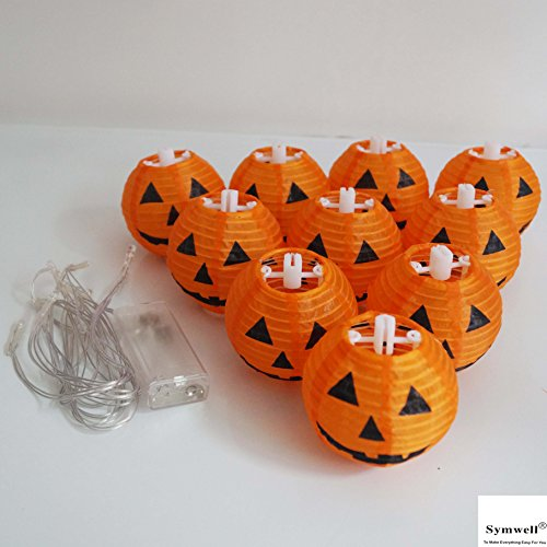 SYMWELL-24-Meters-Battery-Powered-Decorative-Halloween-Paper-Jack-O-Lantern10-PCS-Paper-Pumpkin-Lanterns-Lamps-Hanging-Light-String-With-LED-LightsOrange