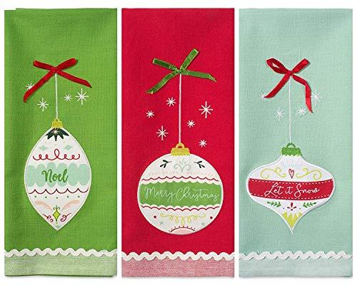DII Christmas Dishtowel Decorative Oversized, Set of 3, Holiday Ornaments