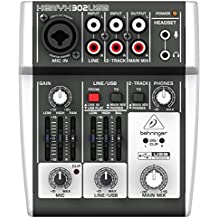 BEHRINGER 5 302USB Premium 5-Input Mixer with Xenyx Mic Preamp and USB/Audio Interface Black