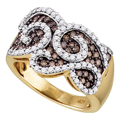 10k Yellow Gold Brown Diamond Swirl Cocktail Ring Wide Fashion Band Round Cluster Style Fancy 1 ctw Size 6 ()